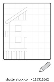 Complete the Symmetrical Drawing: House (one-page drawing task with grid)