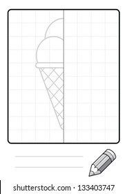 Complete the Symmetrical Drawing: Ice Cream (one page drawing task)