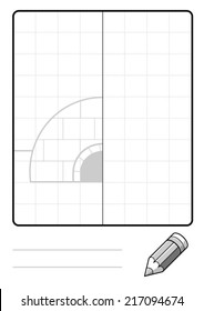 Complete the Symmetrical Drawing: Igloo (single page drawing task)