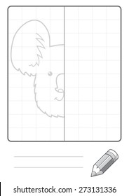 Complete the Symmetrical Drawing: Koala Bear (single page drawing task)