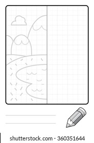Complete the Symmetrical Drawing: Mountains (one page task)