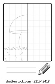 Complete the Symmetrical Drawing: Mushroom (one page drawing task)