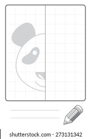 Complete the Symmetrical Drawing: Panda Bear (single page drawing task)