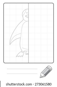 Complete the Symmetrical Drawing: Penguin (single page drawing task)