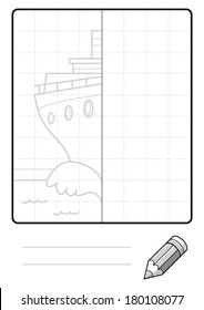 Complete the Symmetrical Drawing: Ship (one page drawing task)