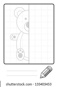 Complete the Symmetrical Drawing: Teddy Bear (one page drawing task)