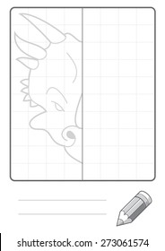 Complete the Symmetrical Drawing: Triceratops Dinosaur (single page drawing task)