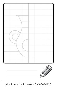Complete the Symmetrical Drawing: Vase (one page drawing task)