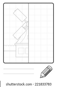 Complete the Symmetrical Drawing: Windmill (one page drawing task)