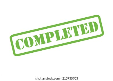 'COMPLETED' green rubber stamp vector over a white background.