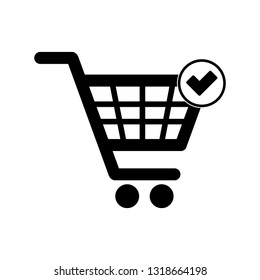 Completed order icon. Shopping Cart with Check Mark.  Supermarket cart symbol. Online shop icon. Vector icon for apps and websites.