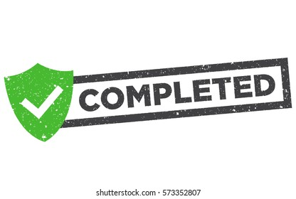 """Completed vector stamp. Green grunge rubber stamp or badge with text """"completed"""" isolated on white."""