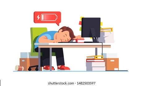 Completely exhausted overworked sad and frustrated worker fell asleep at workplace desk with computer. Man emptied his battery charge due to work burnout. Flat vector character concept illustration