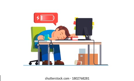 Completely exhausted overworked sad frustrated medical worker doctor fell asleep at workplace desk with computer. Man drained battery charge, work burnout. Flat vector character concept illustration