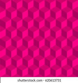 Completely seamless, abstract cube pattern. Pink geometric 3d vector wallpaper, cube pattern background.