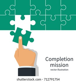 Completion mission concept. Businessman putting last puzzle in jigsaw. Business metaphor. Vector illustration flat design. Successful implementation of plan. Execute the plan.