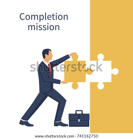 Completion mission concept. Businessman standing with holding puzzle in hands putting in jigsaw. Business metaphor. Vector illustration flat design. Successful implementation plan. Execute plan.