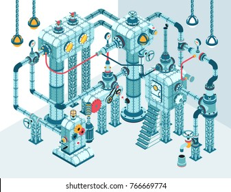 Complex 3D isometric industrial steampunk abstract intricate machine of pipes, motors, levers, gauges, pumps and so on.  It can be disassembled into individual parts.