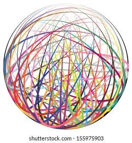 Complex ball made of many colorful curved strings