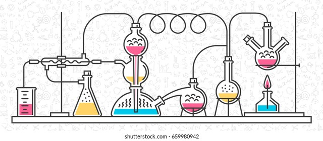 A complex chemical reaction. Construction of laboratory glassware, equipment. Vector illustration of a minimalistic style of line icons. Background of random science formulas, notes.
