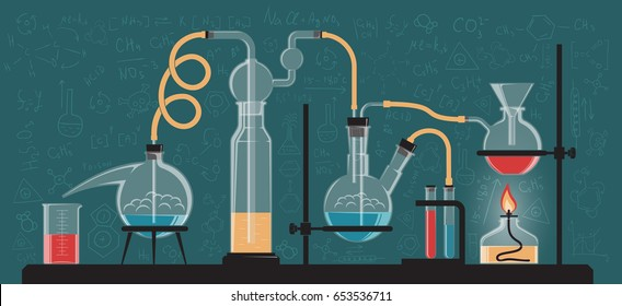A complex chemical reaction, experiment. Composition of glass flasks and laboratory devices. Vector color illustration. Possible reconfiguration.