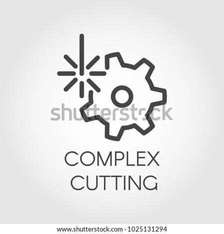 plex cutting concept icon drawing outline stock vector royalty I Beam Box plex cutting concept icon drawing in outline style abstract laser beam and gear label