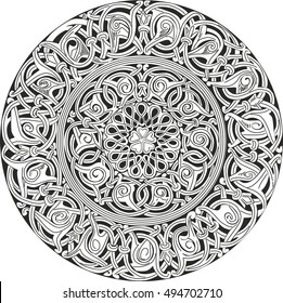 Complex decorative round knot pattern. Black and white ornamental sketch for decorative purpose.