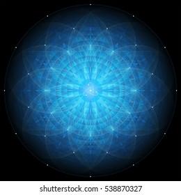 complex deep blue geometric mandala on black background, sacred geometry, flower of life and atom, vector