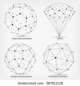 Complex geometric shapes. Abstract geometric background. A series of papers. Wire frame mesh polygonal element. Truncatedic osahedron