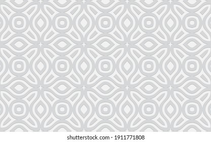 Complex geometric volumetric convex 3D pattern for wallpapers, presentations, websites. Ethnic embossed white background in traditional oriental style.