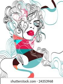 Complex hand-drawn fashion illustration