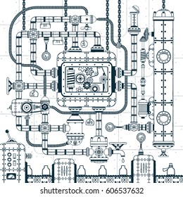 Complex industrial automatic conveyor machine. Interlacing of pipes, mechanisms, devices in doodle style. Vector illustration.