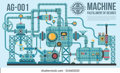 A complex industrial machine of pipes, cables, motors, buttons, gauges, pumps and so on. The device of wish fulfillment.