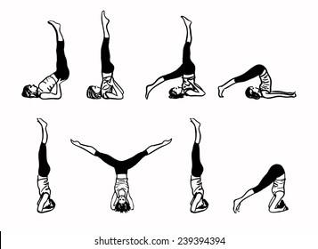 Complex of Inverted Yoga Postures - sketch vector illustration