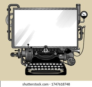 Complex iron steampunk computer with a white screen. Template, poster and techno symbol. Vintage engraving stylized drawing. Vector illustration