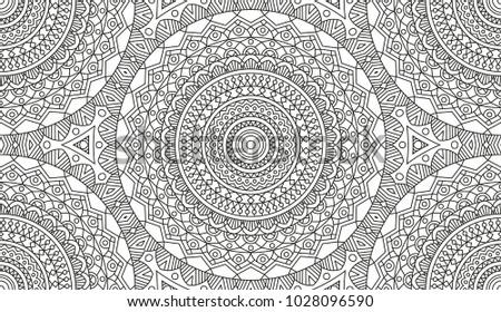 complex kaleidoscope mandala coloring book black stock vector