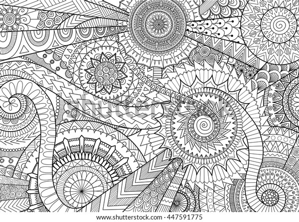 Complex Mandala Movement Design Adult Coloring Stock Vector