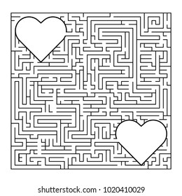 Complex maze puzzle game (high level of difficulty). 2 loving hearts in a labyrinth. Puzzle for St. Valentine Day (14 February) Find your true love