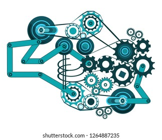 A complex mechanism consisting of gears, belt and crank gears, and other mechanical elements. Engineering industrial fantasy in blue tones on a light background. Vector illustration