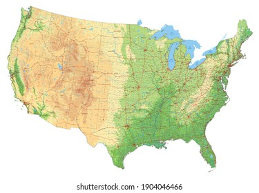 Complex USA physical map with every major city, roads and hydrography.