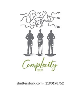 Complexity, business, solution, goal, strategy concept. Hand drawn team and work difficulties concept sketch. Isolated vector illustration.