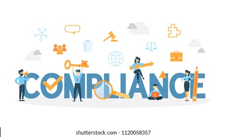 Compliance concept illustration. Idea of regulation and business.