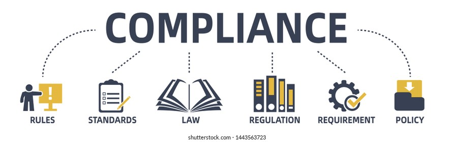 compliance concept web banner with icons and keywords