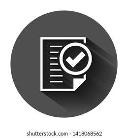 Compliance document icon in flat style. Approved process vector illustration on black round background with long shadow. Checkmark business concept.