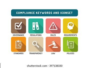 Compliance Flat Icon Set