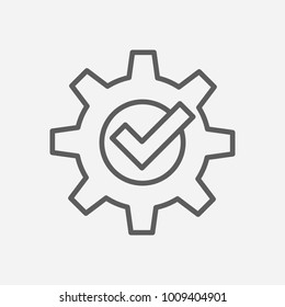 Compliance icon line symbol. Isolated vector illustration of cogwheel sign concept for your web site mobile app logo UI design.