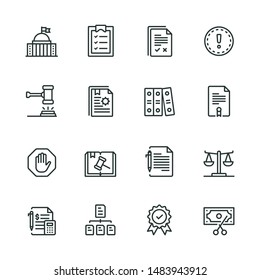Compliance Line Icon Set with 16 Icons such as governance, conformity, obedience, procedure and so on