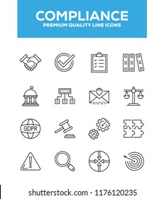 Compliance, Regulation And Governance vector line icons set. Line graphic design for web design, mobile app, infographics. Pixel perfect vector outline icons set.