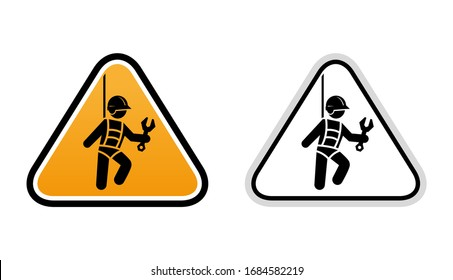 Compliance with safety measures when working at height. Worker works at height, safety belts, icon vector graphics.