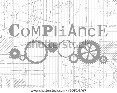compliance sign gear wheels technical drawing stock vector royalty